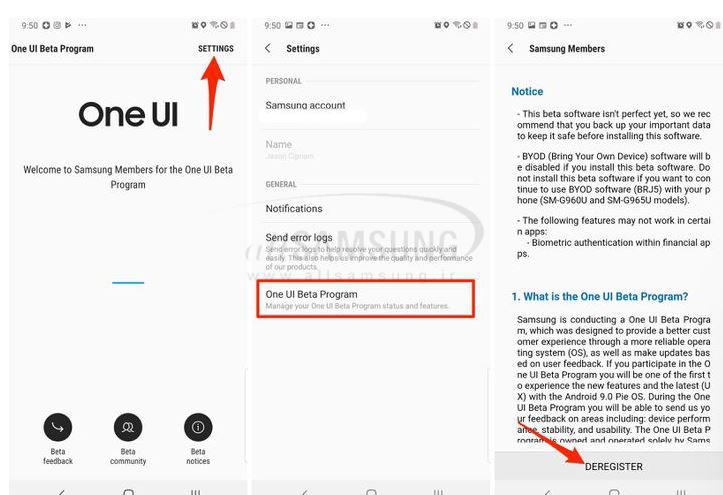 نحوه خروج از نسخه بتای One UI در گوشی های گلکسی و بازگشت به سیستم عامل قبلی