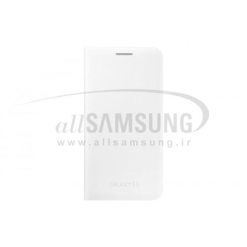 گلکسی ایی 5 سامسونگ فلیپ ولت سفید Samsung Galaxy E5 Flip Wallet White