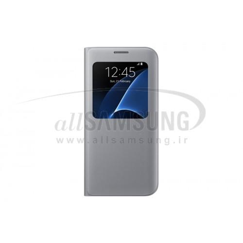 گلکسی اس 7 اج سامسونگ اس ویو کاور نقره ای اورجینال Samsung Galaxy S7 edge S View Cover Silver EF-CG935P