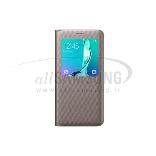 گلکسی اس 6 اج پلاس سامسونگ اس ویو کاور طلایی Samsung Galaxy S6 edge+ Plus S View Cover Gold