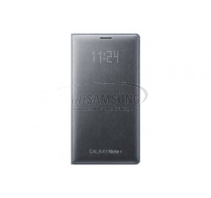 گلکسی نوت 4 سامسونگ ال ای دی فلیپ ولت خاکستری Samsung Galaxy Note4 LED Flip Wallet Gray