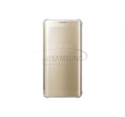 گلکسی اس 6 اج پلاس سامسونگ کلیر ویو کاور طلایی Samsung Galaxy S6 edge + Plus Clear View Cover Gold
