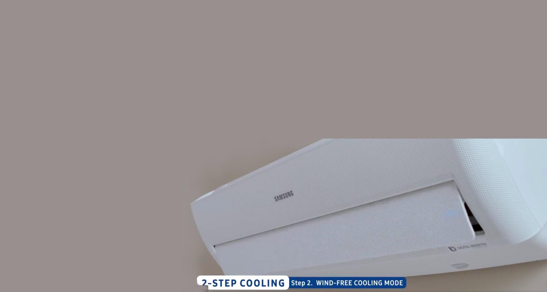کولر wind-free سامسونگ با حالت خنک کننده دو مرحله ای
