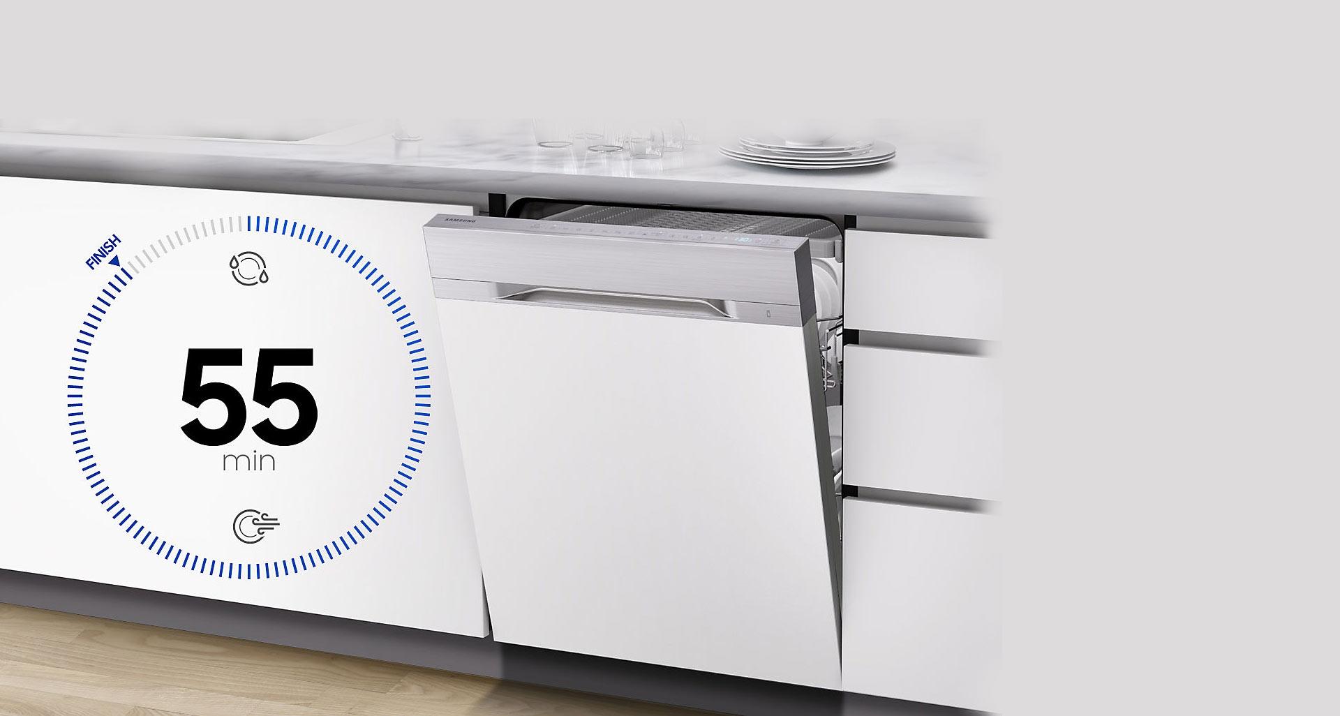 شست و شو با ماشین ظرفشویی D164 تنها در 55 دقیقه