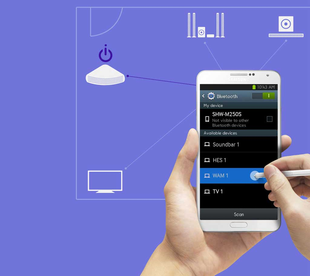 موسیقی مورد علاقه تان در تلفن همراه را با سینمای خانگی J5550 گوش کنید