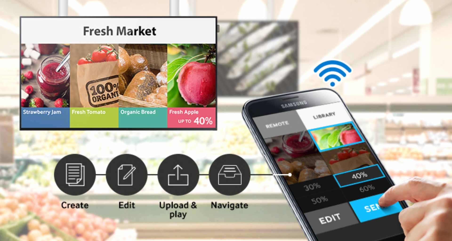 samsung 6 Manage digital signage wirelessly  virtually anywhere  anytime on a mobile device - نمایشگر اطلاع رسان دیجیتال سامسونگ 55 اینچ Samsung Digital Signage DB55E