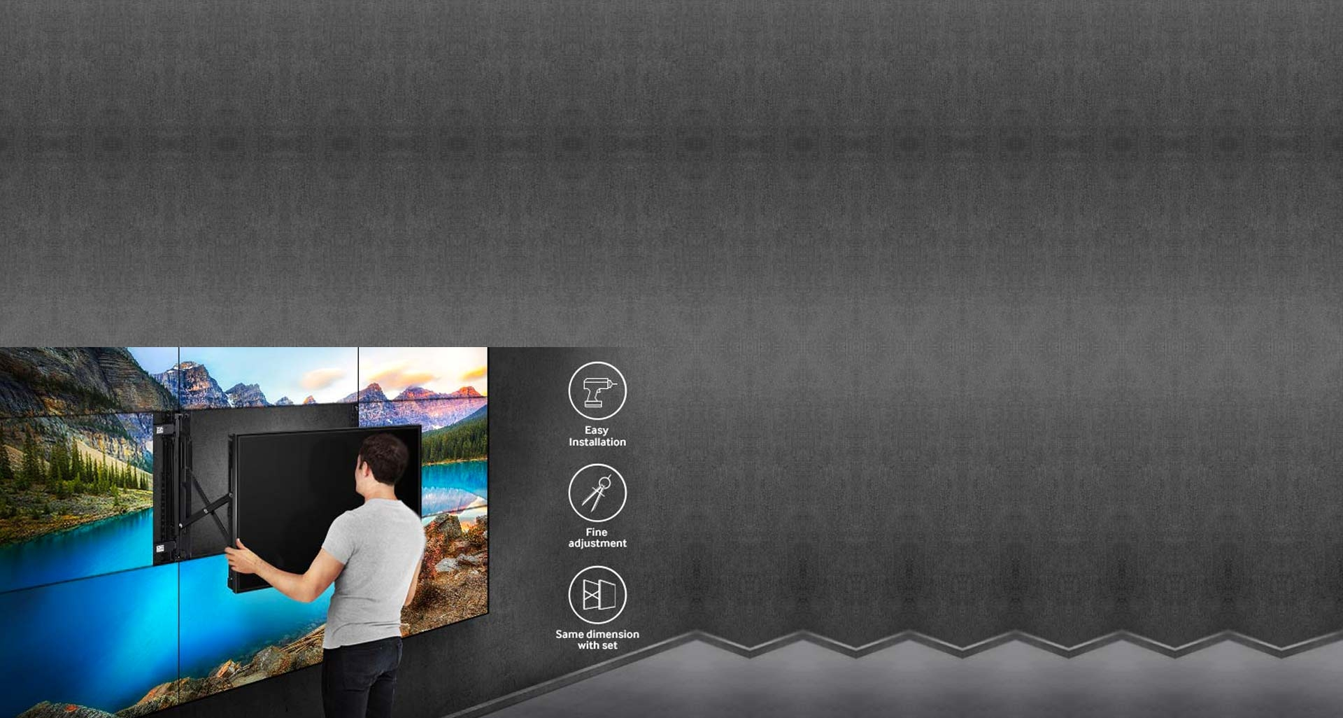 نصب بسیار آسان ویدئو وال های سامسونگ با کمک پایه نگهدارنده