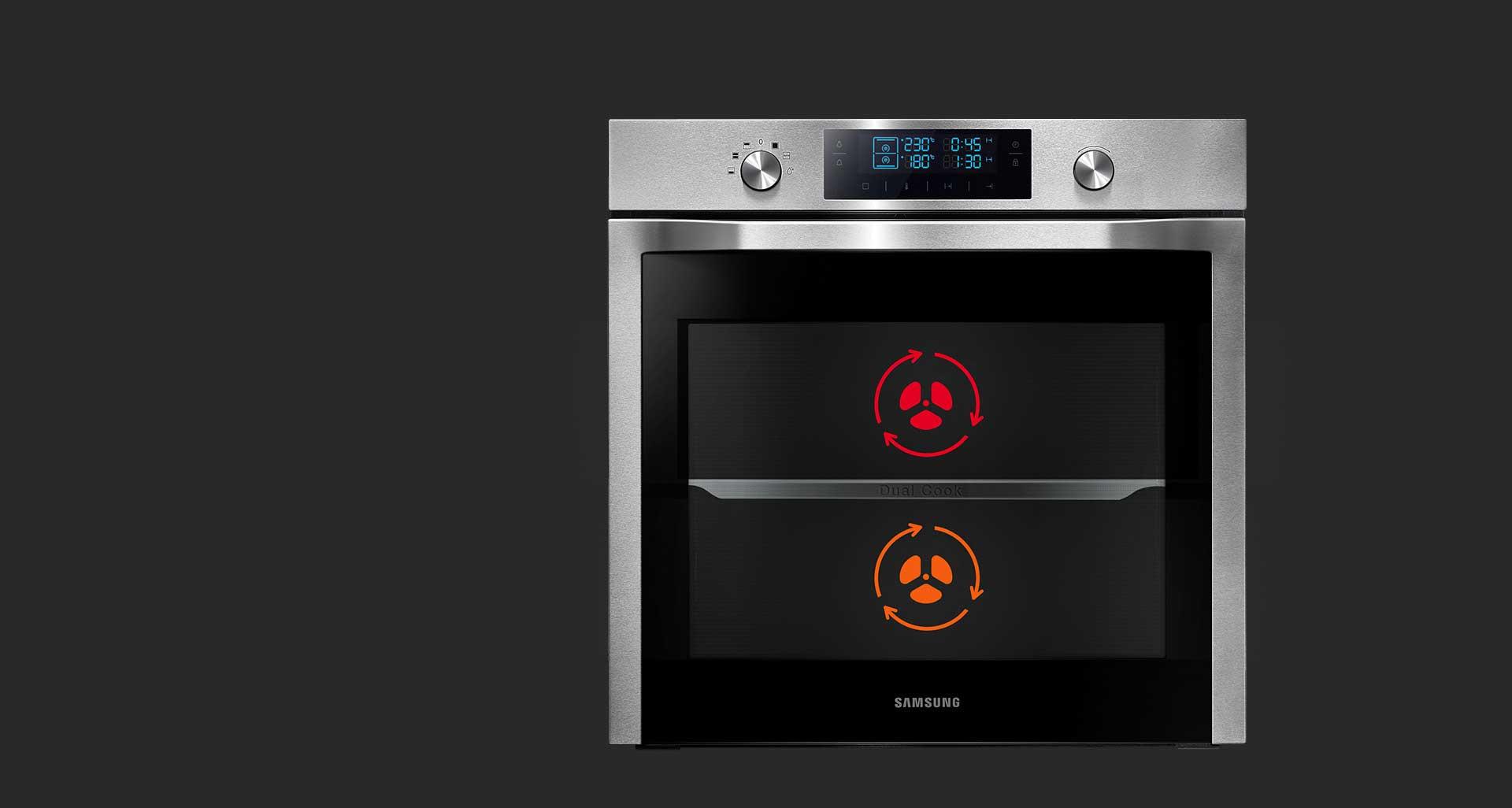 قابلیت پخت دو غذا به صورت همزمان در فر 70 لیتری سامسونگ