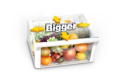 بهینه سازی محفظه یخچال به کمک کشویی بزرگ تر