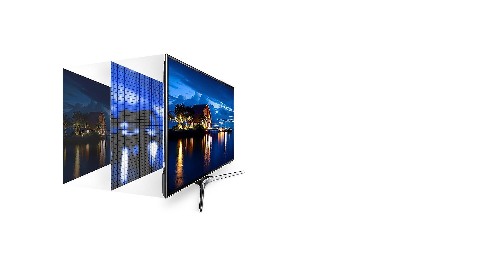 تنظیم رنگ توسط تکنولوژی UHD Dimming تلویزیون NU7900