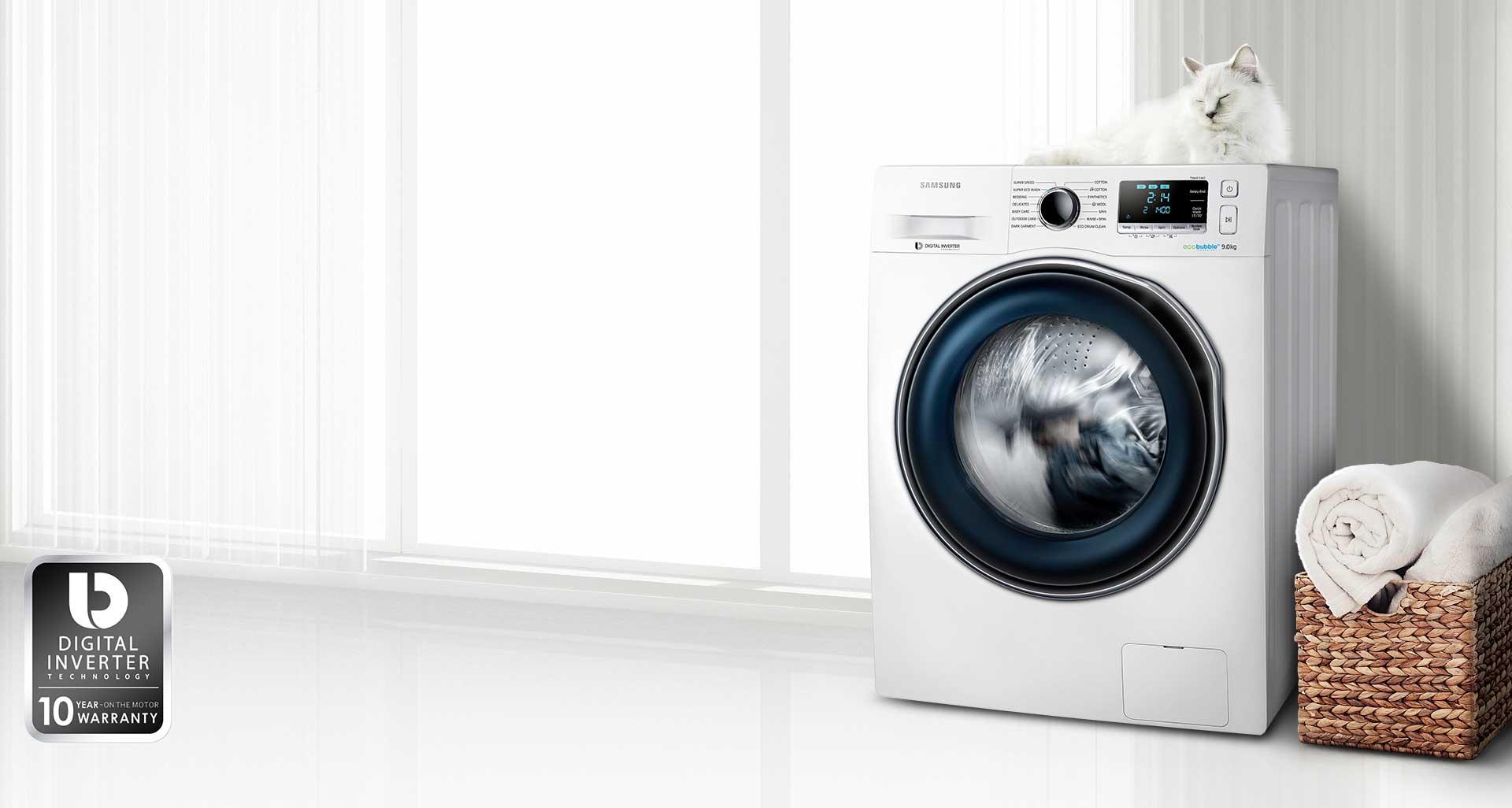 ماشین لباسشویی سامسونگ 9 کیلویی P1490 تسمه ای سفید