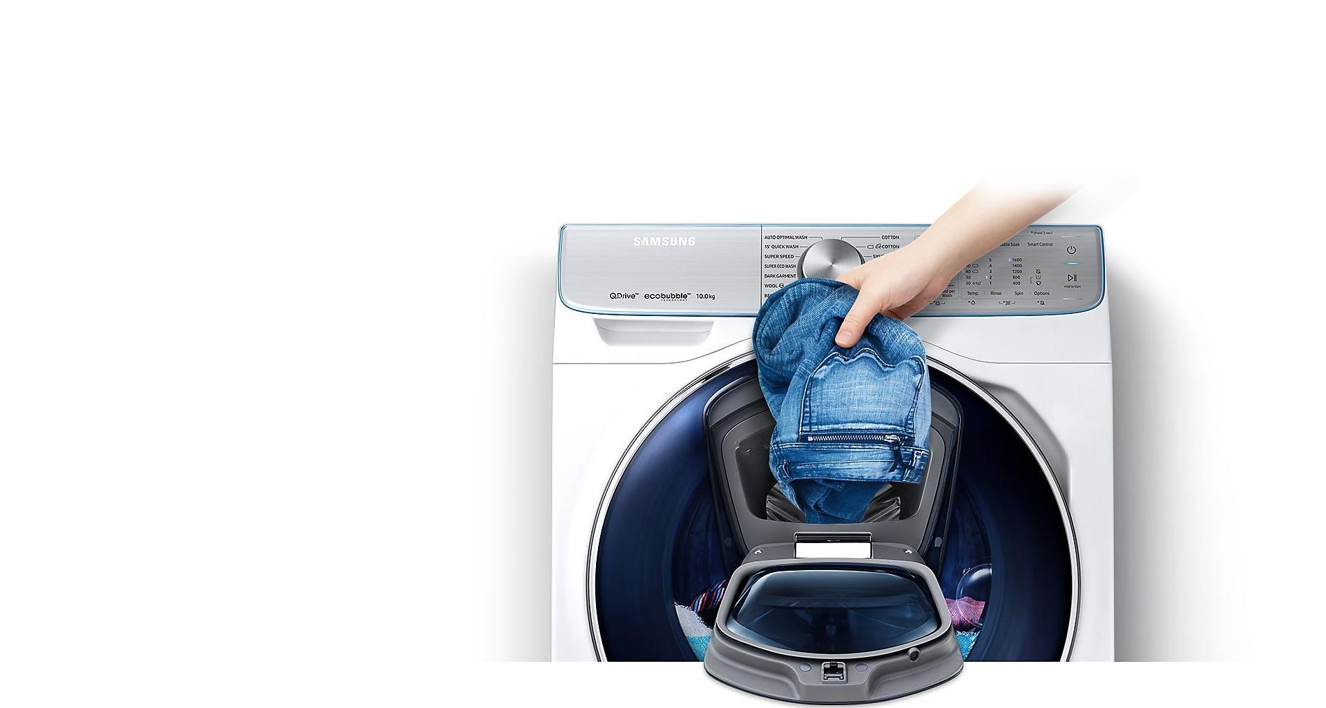 اضافه کردن لباس ها در حین شست و شو با ماشین لباسشویی QuickDrive