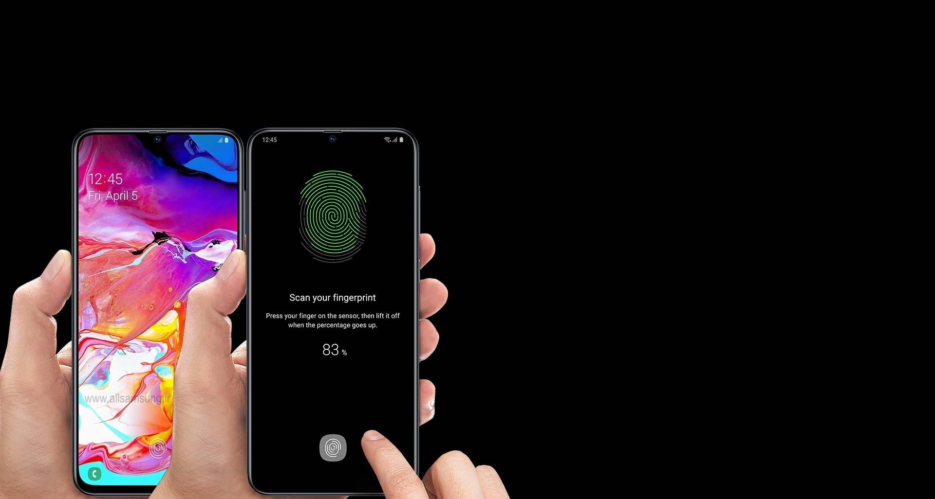 اثر انگشت شما، کلید ورود به گوشی A70 سامسونگ