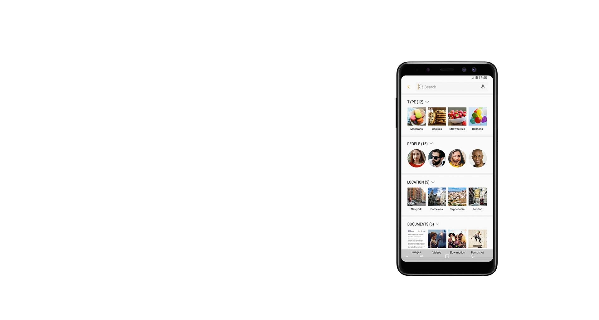 گوشی گلکسی ای 8 پلاس با یک راه هوشمند برای جستجو در آلبوم عکس