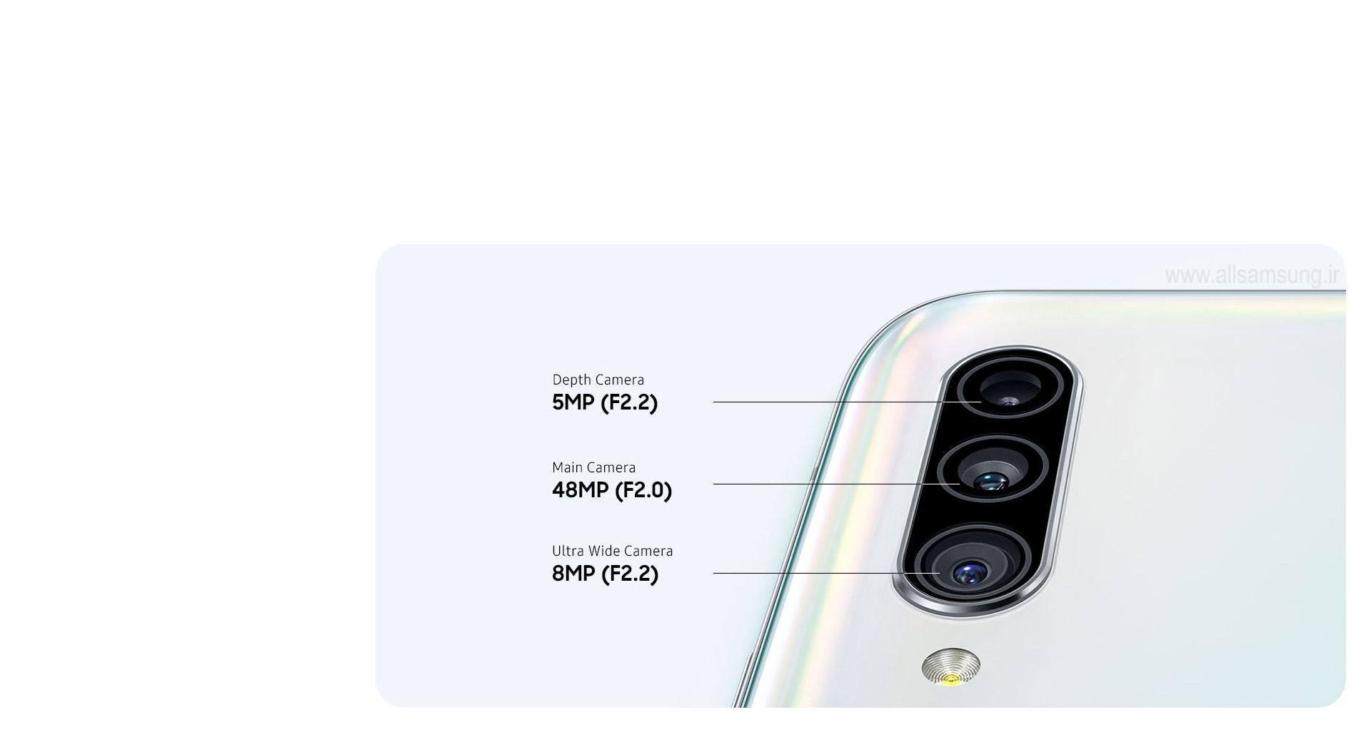 سیستم دوربین سه گانه گوشی A90 برای ثبت تصاویر و به اشتراک گذاری آنها