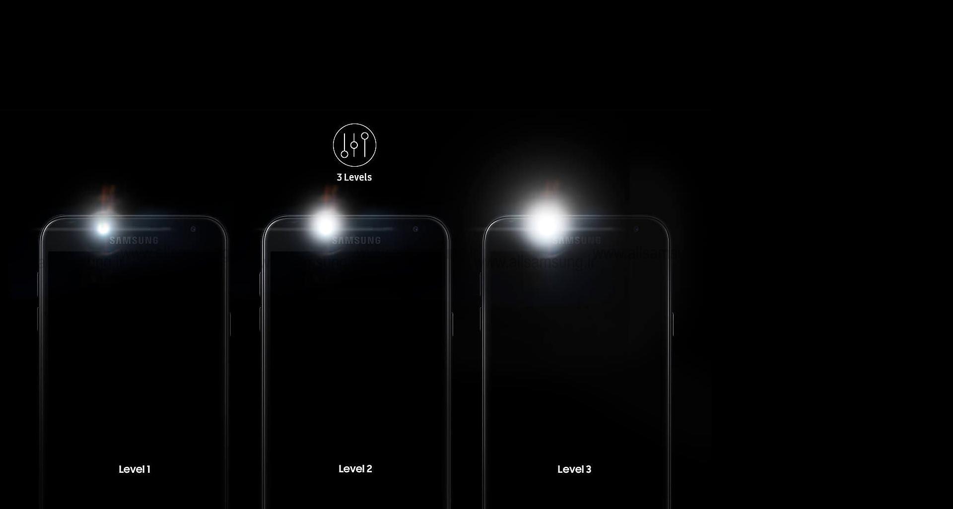 - سطوح مختلف روشنایی با گوشی J400